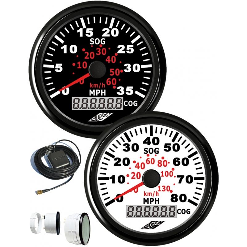 Spidometras juodas su GPS