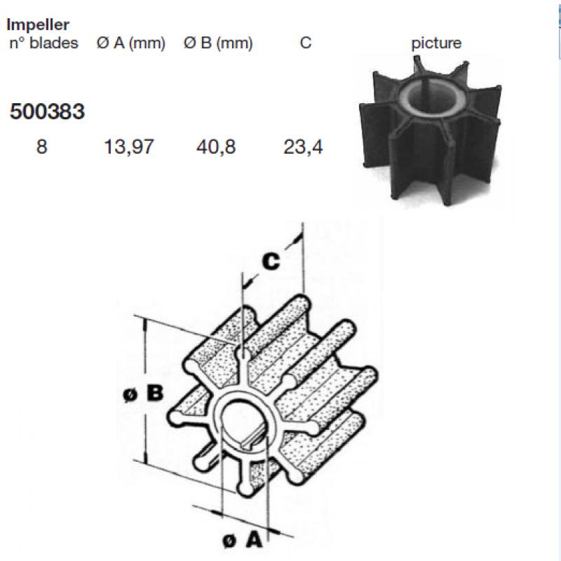 Impeleris - aušinimo sparnuotė Mercury - Tohatsu 9.9AG 10AG 15AG 20AG CEF 500383
