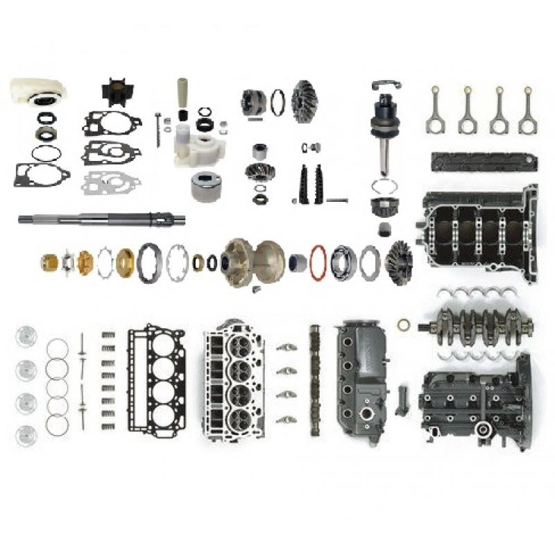 Įvairios benzininių pakabinamų variklių dalys