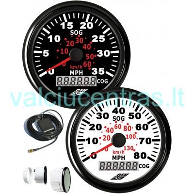 Spidometras baltas su GPS