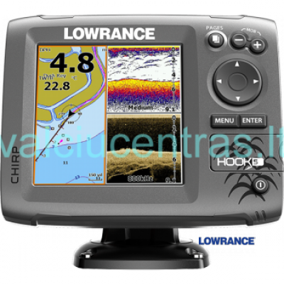 Echolotas Lowrance HOOK-5 Mid/High/Downscan