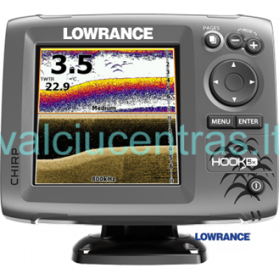 Echolotas Lowrance HOOK-5x Mid/High/Downscan
